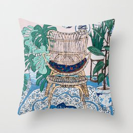 Wicker Chair and Delft Plates in Jungle Room Throw Pillow
