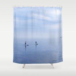 Couple Paddleboarding on Lake Ontario Shower Curtain