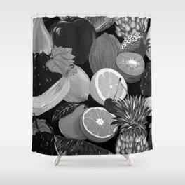 Galactic Fruits - B&W Shower Curtain