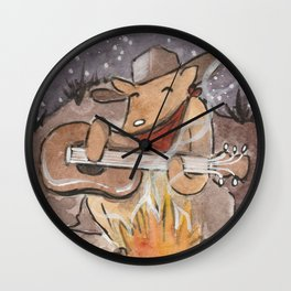 Cowboy Dog Singing Cowboy Music By The Campfire Wall Clock