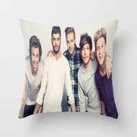 one direction Throw Pillows featuring One direction by kikabarros