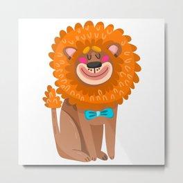 lion cartoon  cute Metal Print