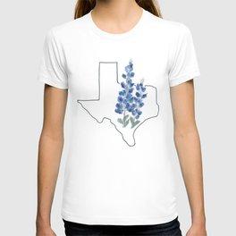 texas // watercolor bluebonnet state flower map T-shirt