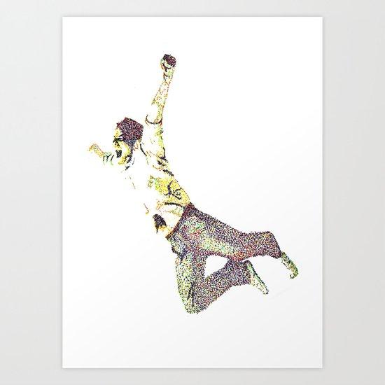young man falling Art Print