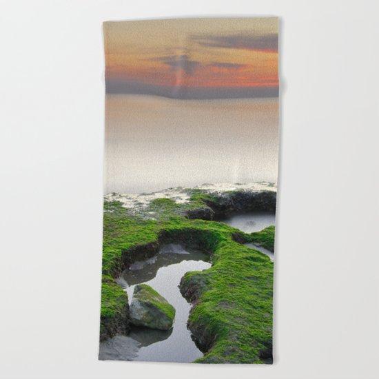"""Green, white and red beach"" Beach Towel"