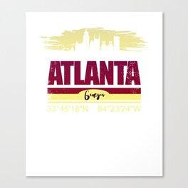 Atlanta, Geogia Gifts  Distressed Coordinates Canvas Print