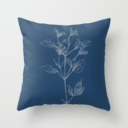 Clematis Blueprint Throw Pillow