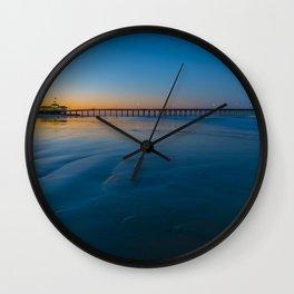 Clear Sky Sunrise at Newport Pier Wall Clock