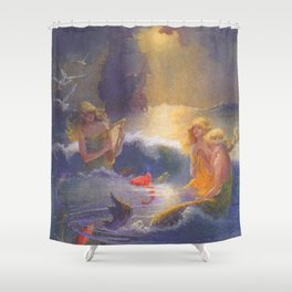 Mermaids and a Ship by Gertrude Alice Kay Shower Curtain