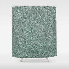 Melange - White and Deep Green Shower Curtain