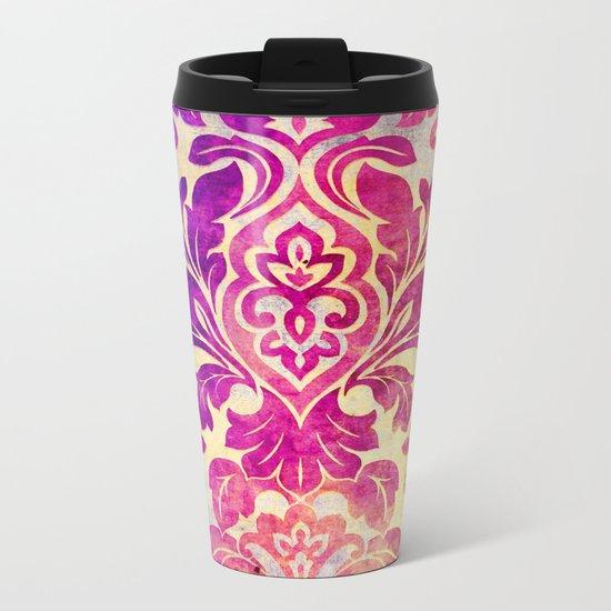 Purple Damask Pattern Metal Travel Mug