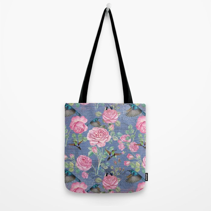 Vintage Watercolor hummingbird and English Roses on blue Background Tote Bag