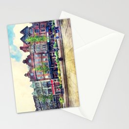 Nottingham panorama city watercolor Stationery Cards