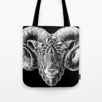 bioworkz Tote Bags featuring Ram Head by BIOWORKZ