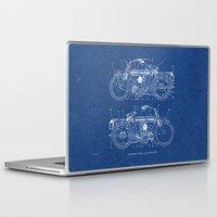 blueprint Laptop & iPad Skins featuring Motorcycle blueprint by marcusmelton