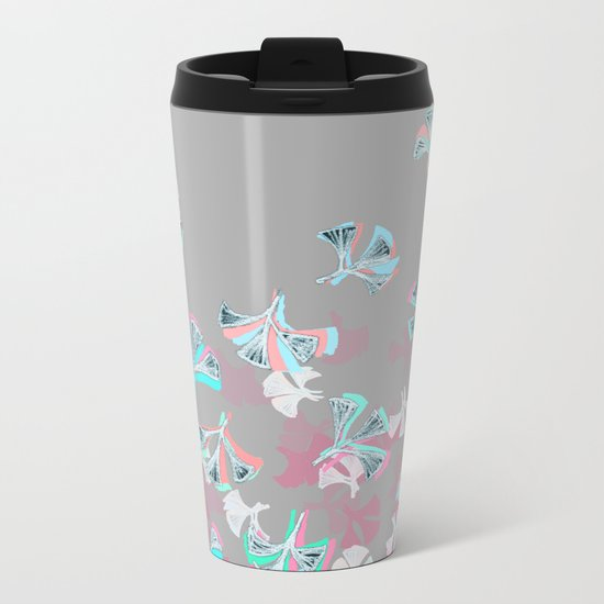 Flight - abstract in pink, grey, white & aqua Metal Travel Mug