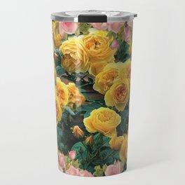 PINK & YELLOW SPRING ROSES GARDEN VIGNETTE Travel Mug