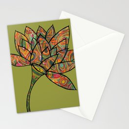 green lotus flowers Stationery Cards