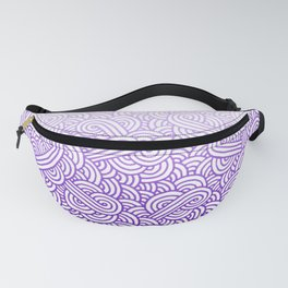 Gradient purple and white swirls doodles Fanny Pack