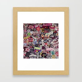 Colorful Sticker Vintage Abstract Pattern Framed Art Print