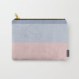 Pastel Rose Line Art Carry-All Pouch