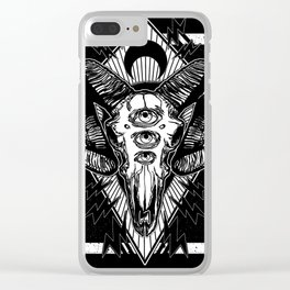 Ram Skull Monochrome Clear iPhone Case