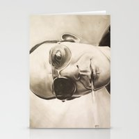 hunter s thompson Stationery Cards featuring Hunter S. Thompson Portrait in Charcoal by GileOne