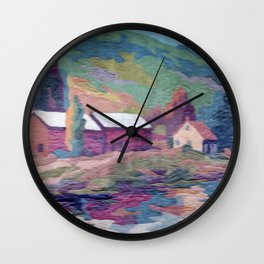 paint by number cottage Wall Clock
