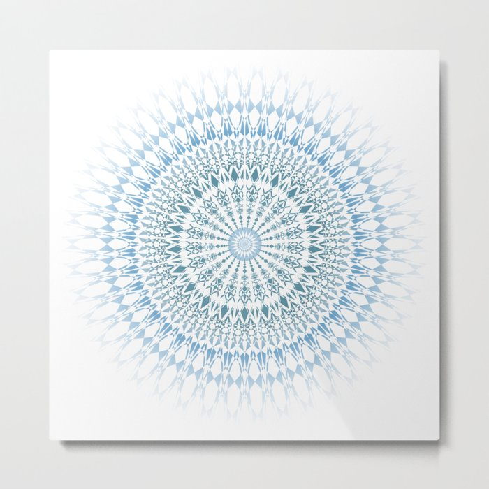 Blue White Geometric Mandala Metal Print