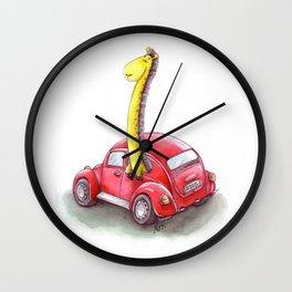 Girrafe in Red VolexWagen Wall Clock