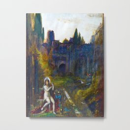 Psalms, King David watching Bathsheba washing from the palace rooftop by Gustave Moreau Metal Print