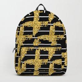 Gold glitter plaid on white stripes abd black background Backpack