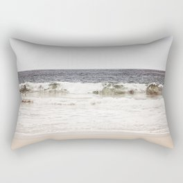 Neutral Ocean Landscape Photography, Grey Seascape Art, Gray Sea Beach Photo, Coastal Print Rectangular Pillow