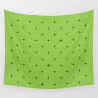 avocado Wall Tapestries featuring Crosses on Avocado by Sylvia C