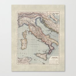 Bella Italia Vintage Map Of Italy Canvas Print