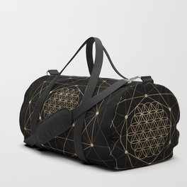 Flower of Life Black and Gold Duffle Bag