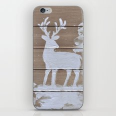 Wood slat deer in the snowy woods iPhone & iPod Skin