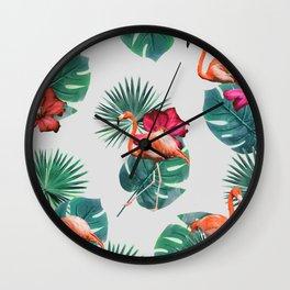 Flamingo tropical flowers #society6 Wall Clock