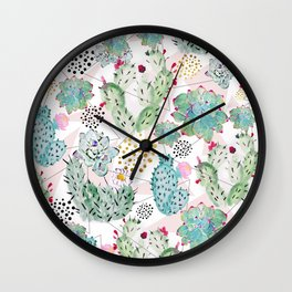 Modern triangles and hand paint cactus pattern Wall Clock