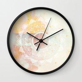 Precious white mandala on pink Wall Clock