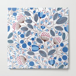 Floral Pattern Blue Metal Print