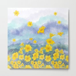 Stella D'Oro Daylily flowers over clouds Metal Print
