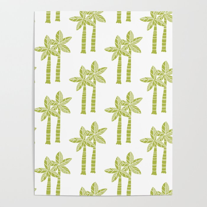 Palm Tree Pattern Green Poster by tonymagner