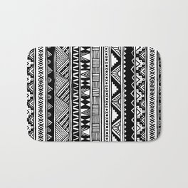 Black White Cute Girly Urban Tribal Aztec Andes Abstract Geometric Hand-drawn Pattern Bath Mat