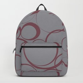 Red and Grey Circle Pattern Pantone 2021 Color of the Year Ultimate Gray 17-5104 Backpack