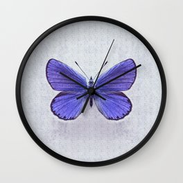Violet Butterfly on Floral Background. Wall Clock