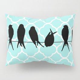 Vintage elegant teal quatrefoil black bird silhouette Pillow Sham