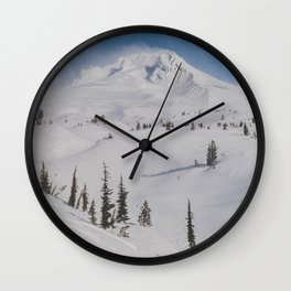 Snowy Mount Hood Wall Clock