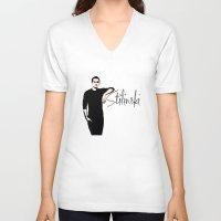 stiles stilinski V-neck T-shirts featuring Team Human: Stilinski  by Keyweegirlie