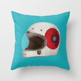 Bell Bullitt Cafe Racer Helmet Polygon Art Throw Pillow